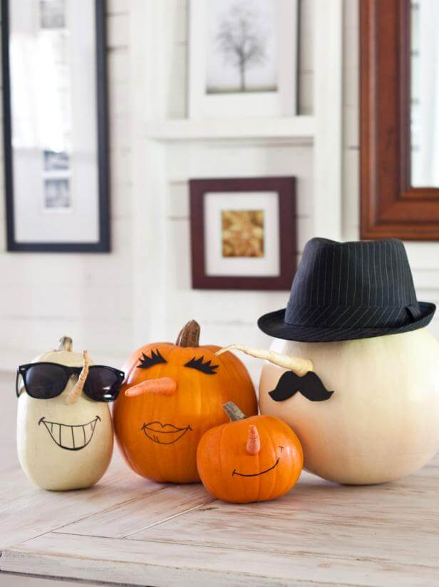 Parsnip and Carrot Pumpkin Characters | No-Carve Pumpkin Decorating Ideas For This Halloween