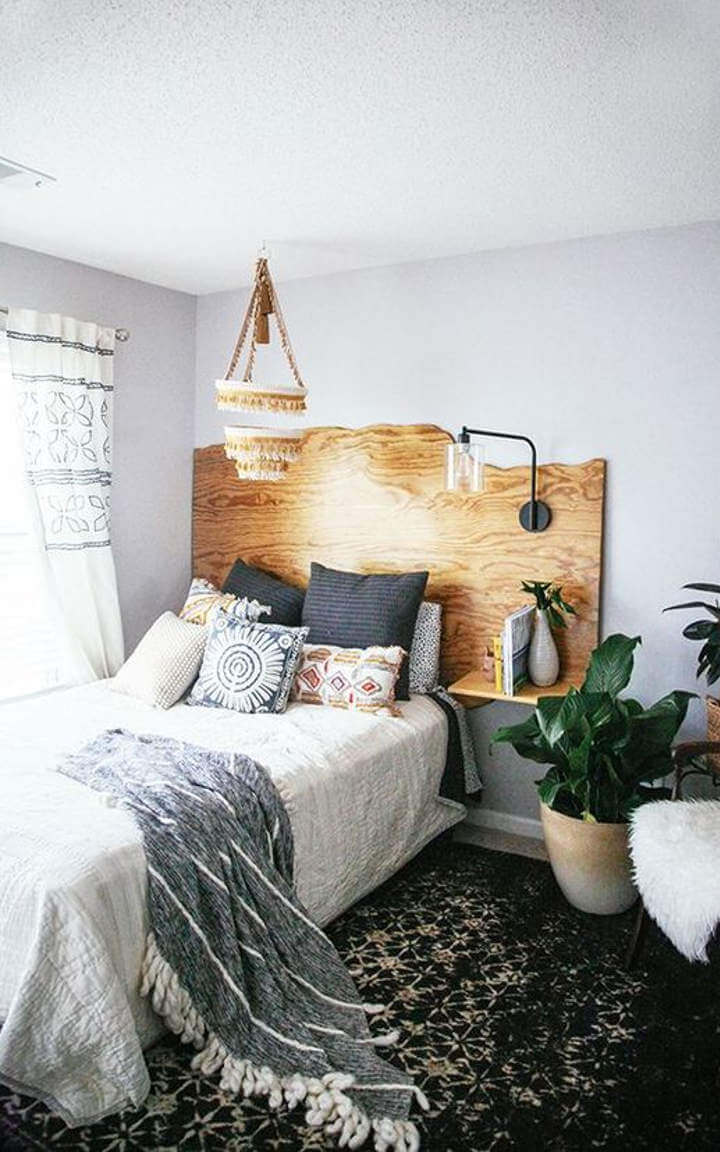 Wooden Headboard | DIY Wood Tree Log Decor Ideas - FarmFoodFamily.com