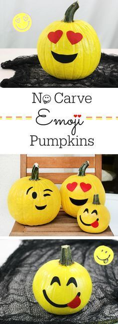 No Carve Emoji Pumpkins | No-Carve Pumpkin Decorating Ideas For This Halloween