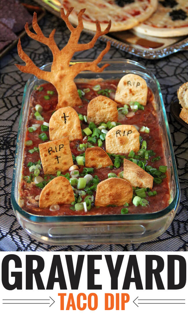 Graveyard taco dip | Halloween Party Food Ideas | Halloween Party Themes For Adults