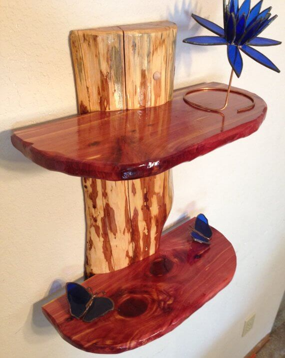 Cedar Wood Log Shelf | DIY Wood Tree Log Decor Ideas - FarmFoodFamily.com
