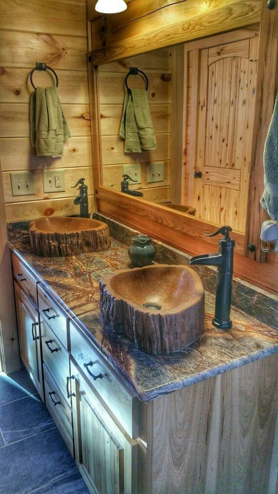Wood log sink tree | DIY Wood Tree Log Decor Ideas - FarmFoodFamily.com