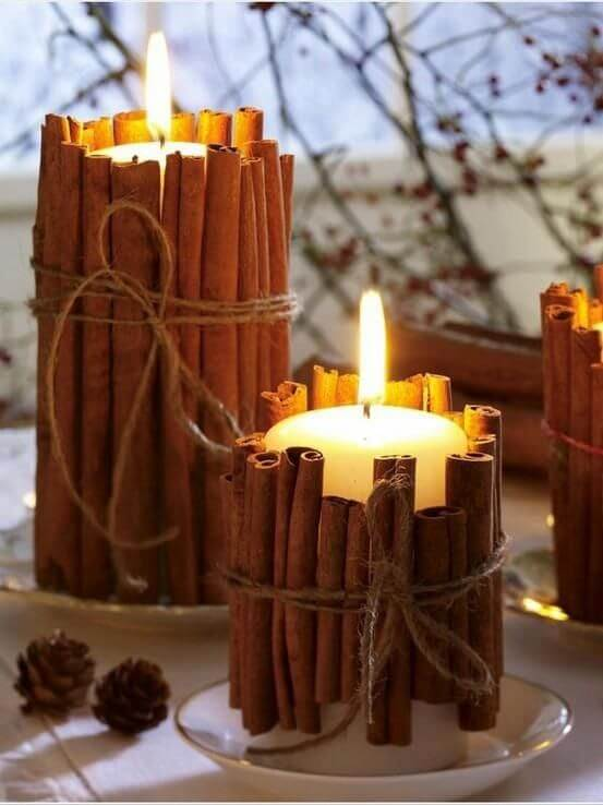 Cinnamon Stick Candles | DIY Fall Candle Decoration Ideas - Farmfoodfamily.com