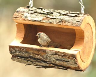 Bird feeder | DIY Wood Tree Log Decor Ideas - FarmFoodFamily.com