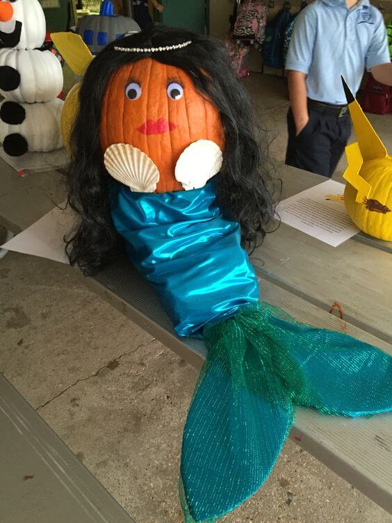 Mermaid pumpkin | No-Carve Pumpkin Decorating Ideas For This Halloween