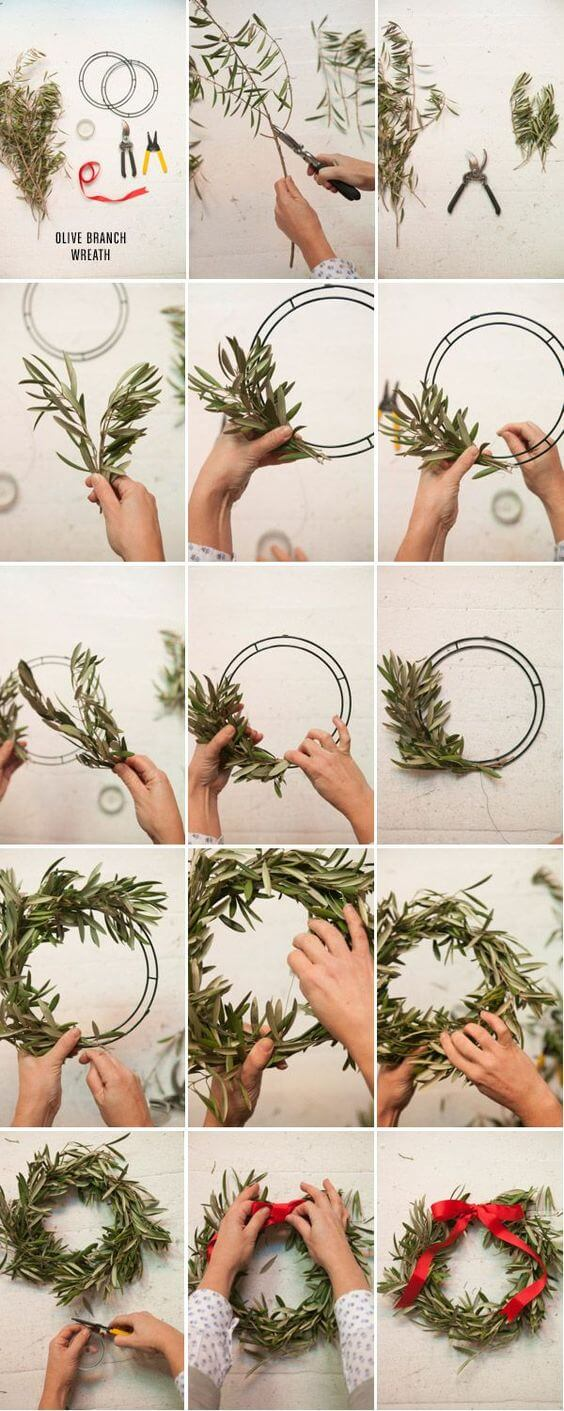 Olive Branch Wreath | Creative, Easy, and Inexpensive Christmas Wreaths | Farmfoodfamily.com