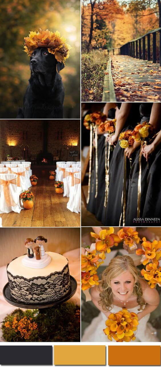 Black and orange autumn Halloween wedding color inspiration | Halloween Wedding Theme Ideas - Farmfoodfamily.com