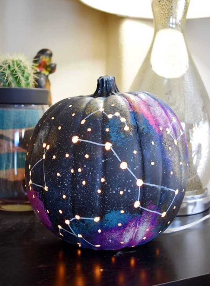 Galaxy Pumpkin World | No-Carve Pumpkin Decorating Ideas For This Halloween