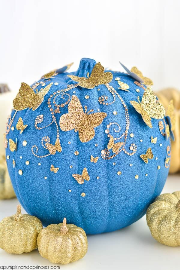 DIY Cinderella Butterfly Pumpkin | No-Carve Pumpkin Decorating Ideas For This Halloween