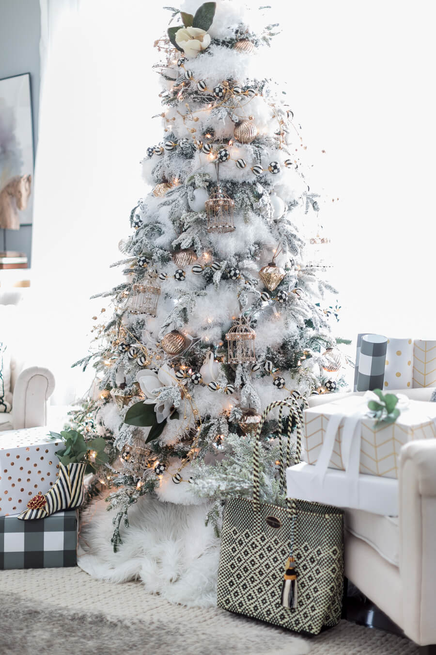 Black and White Christmas Tree | Best Way to Decorate Christmas Trees on a Budget: Inexpensive or Free & Easy Holiday Ornaments & Decorations