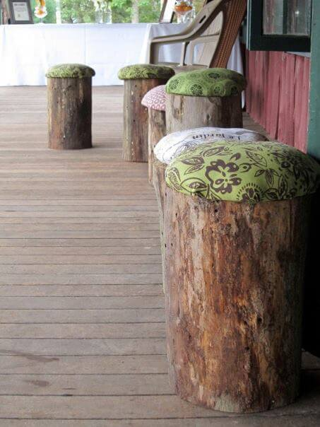 DIY Wood Log Stools | DIY Wood Tree Log Decor Ideas - FarmFoodFamily.com