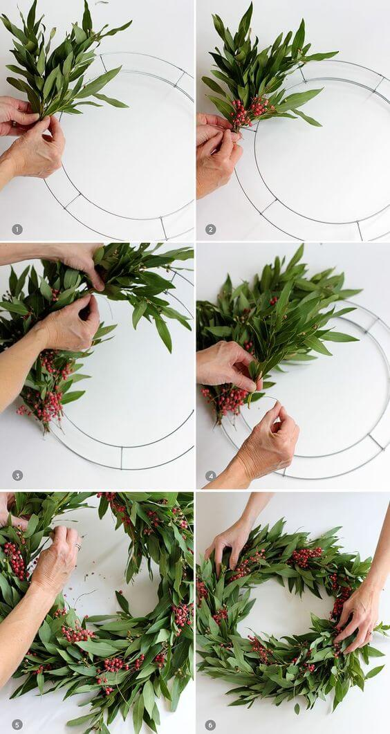 Handmade Holiday Wreath | Creative, Easy, and Inexpensive Christmas Wreaths | Farmfoodfamily.com