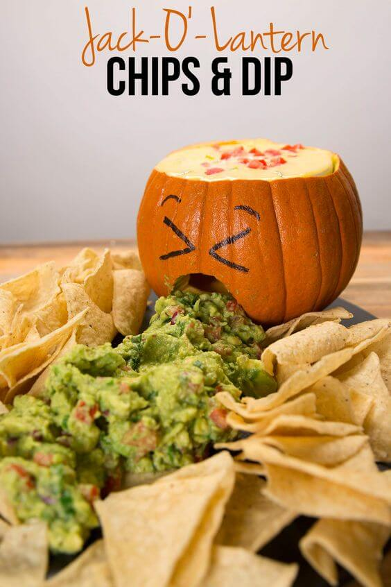 Jack O'Lantern Chips and Dip | Halloween Inspired Recipes: How to Make Simple Halloween Party Food
