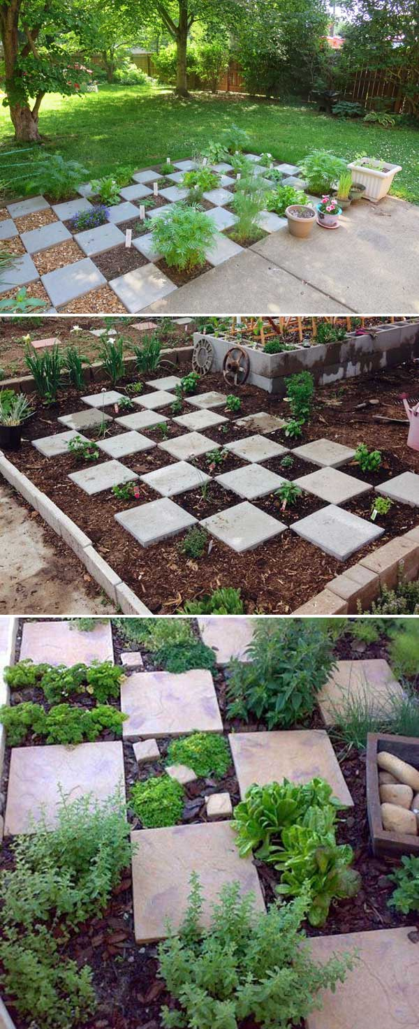 Checkerboard herb garden | How to Build a Raised Vegetable Garden Bed | 39+ Simple & Cheap Raised Vegetable Garden Bed Ideas - farmfoodfamily.com