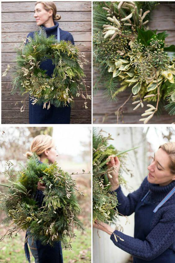 How to make a beautiful DIY holiday wreath using natural materials | Creative, Easy, and Inexpensive Christmas Wreaths | Farmfoodfamily.com