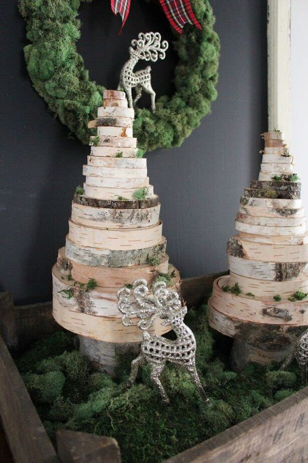 DIY wood slice Christmas trees