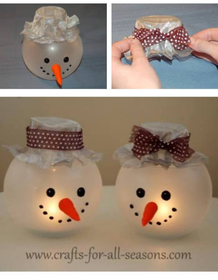 Snowman Candle Holder | Cute and Easy Christmas Ornament Ideas
