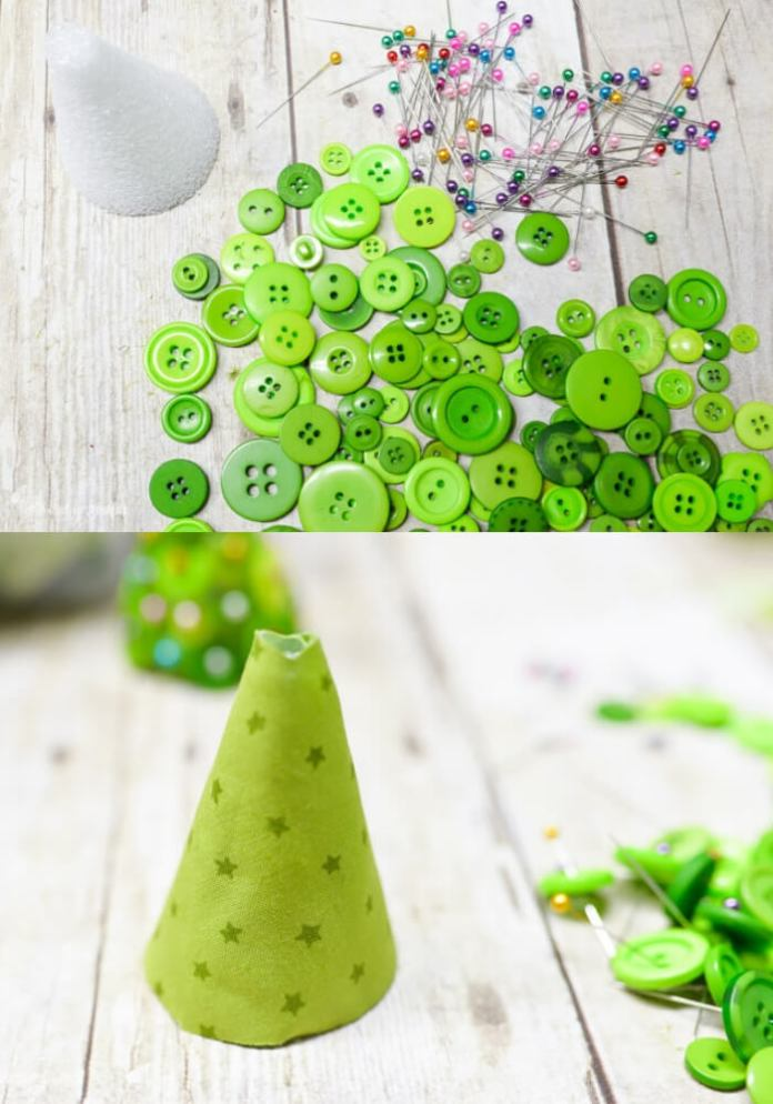 Button Christmas Trees | Cute and Easy Christmas Ornament Ideas