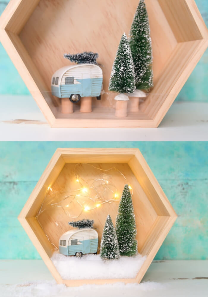 Easy retro winter shadow | Cute and Easy Christmas Ornament Ideas