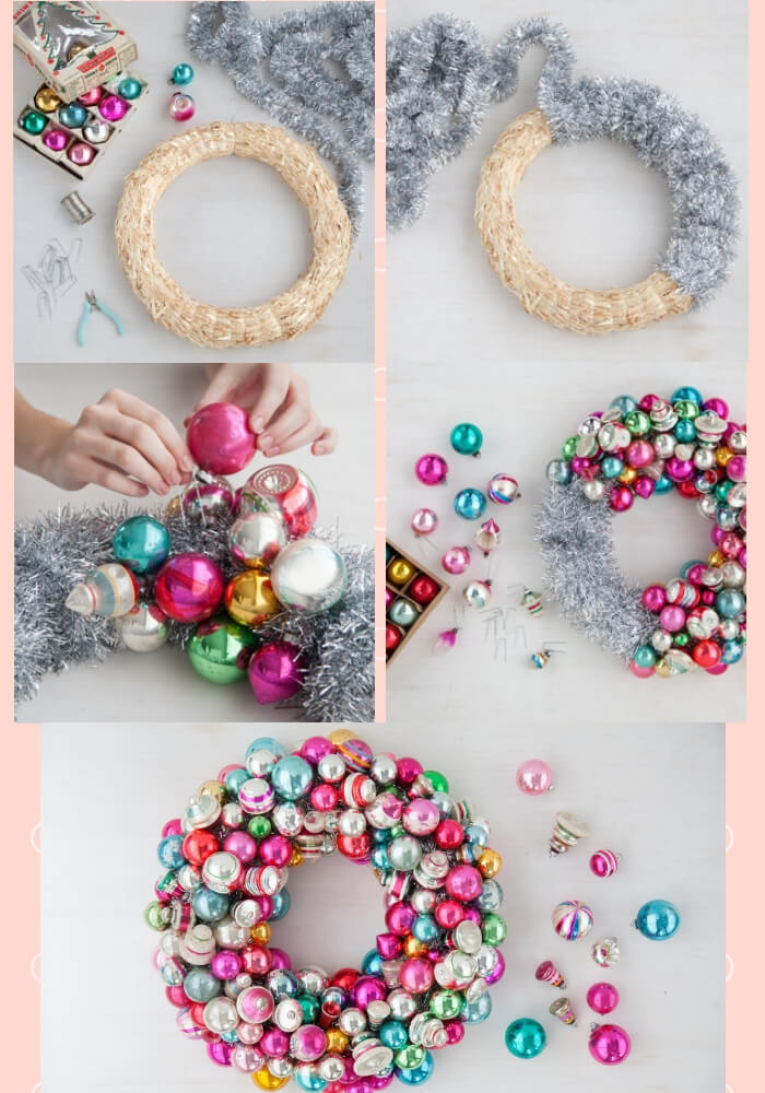 Christmas Ornament Wreath | Cute and Easy Christmas Ornament Ideas