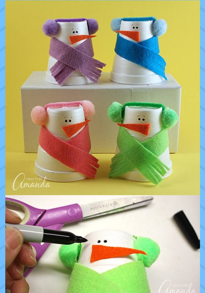 Foam Cup Snowmen | Christmas Craft Ideas for Preschoolers