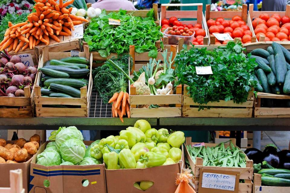 Fruits, Vegetables and Herbs at the Farmers Market