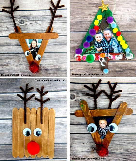 Easy Christmas Craft Stick Photo Frames | Easy, Inexpensive, and Creative Christmas Crafts for Kids