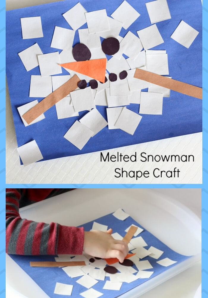 Melted Snowman Shape Craft Collage | Christmas Craft Ideas for Preschoolers