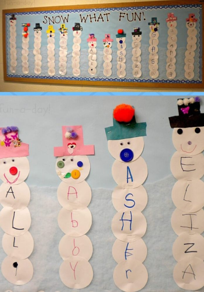 Name Snowmen | Christmas Craft Ideas for Preschoolers