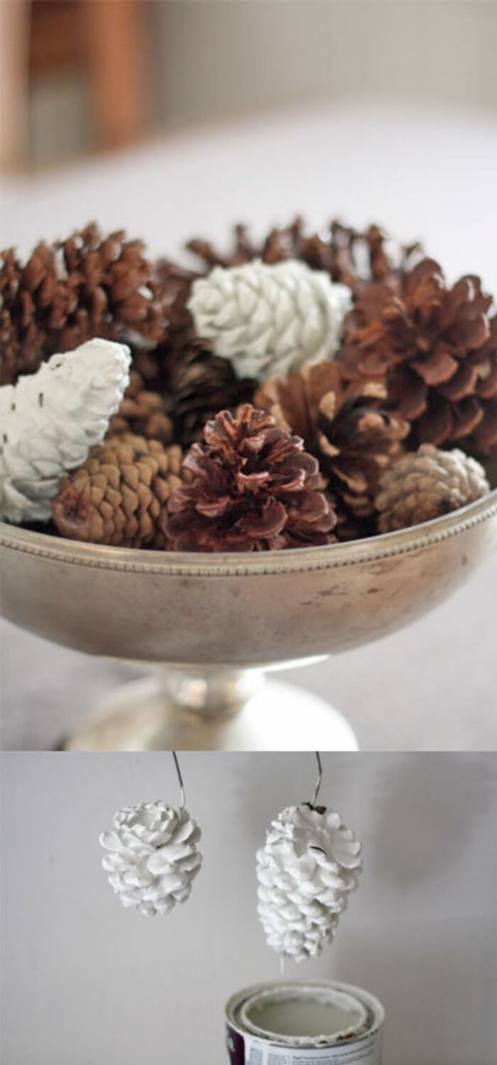 Paint Dipped Pinecones | Last Minute Christmas Ideas and Hacks