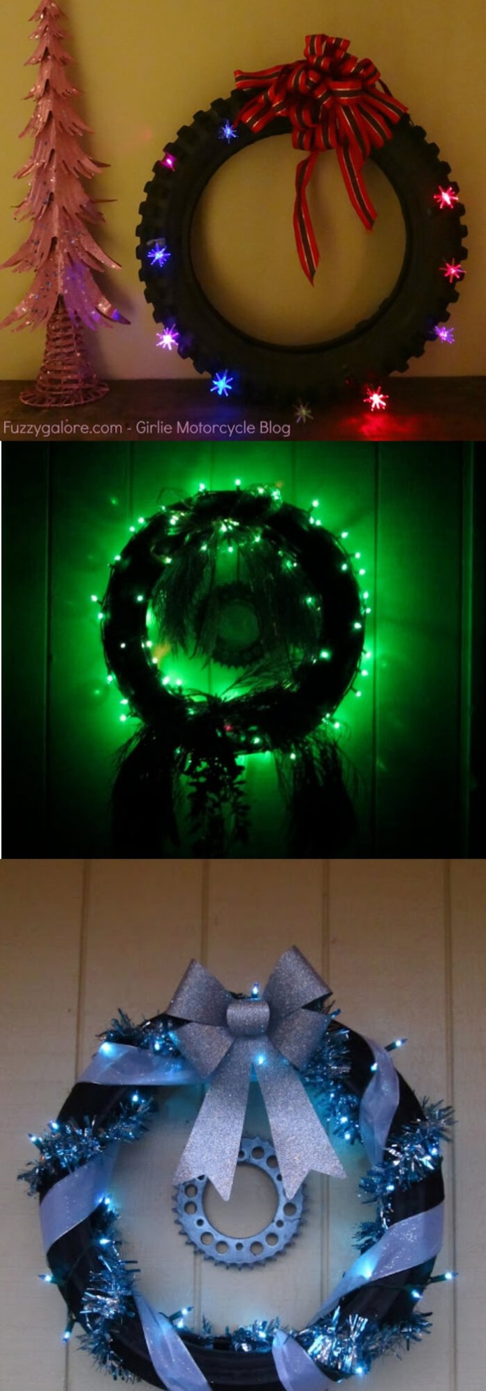 Knobby Tire Christmas wreath | Best Recycled Tire Christmas Decoration Ideas | FarmFoodFamily.com