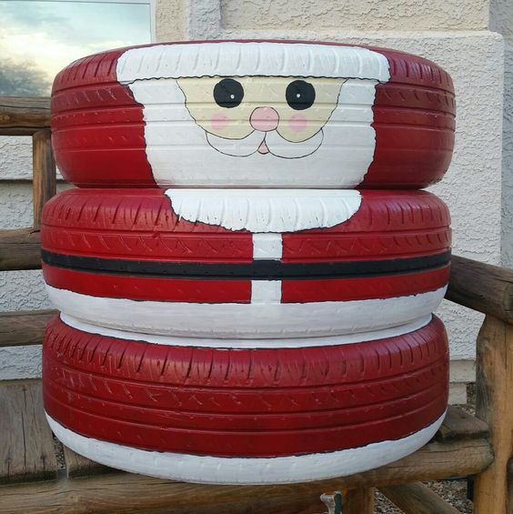 Santa Claus recycled old tires   Best Recycled Tire Christmas Decoration Ideas   FarmFoodFamily.com