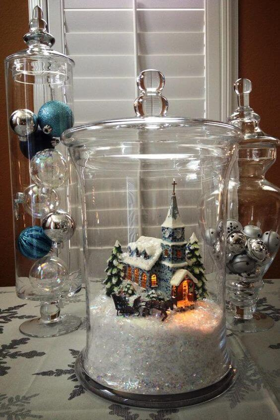 Snow globe jar | Christmas Spirit Jars Ideas | FarmFoodFamily.com