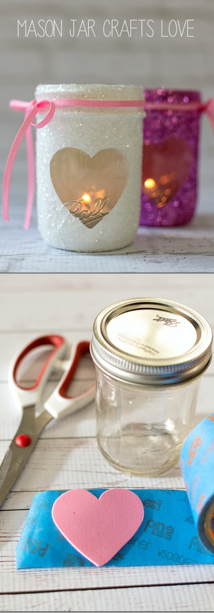 Valentine Glitter Votives | Valentine's Day Decorating Ideas For Your Lovers | FarmFoodFamily.com