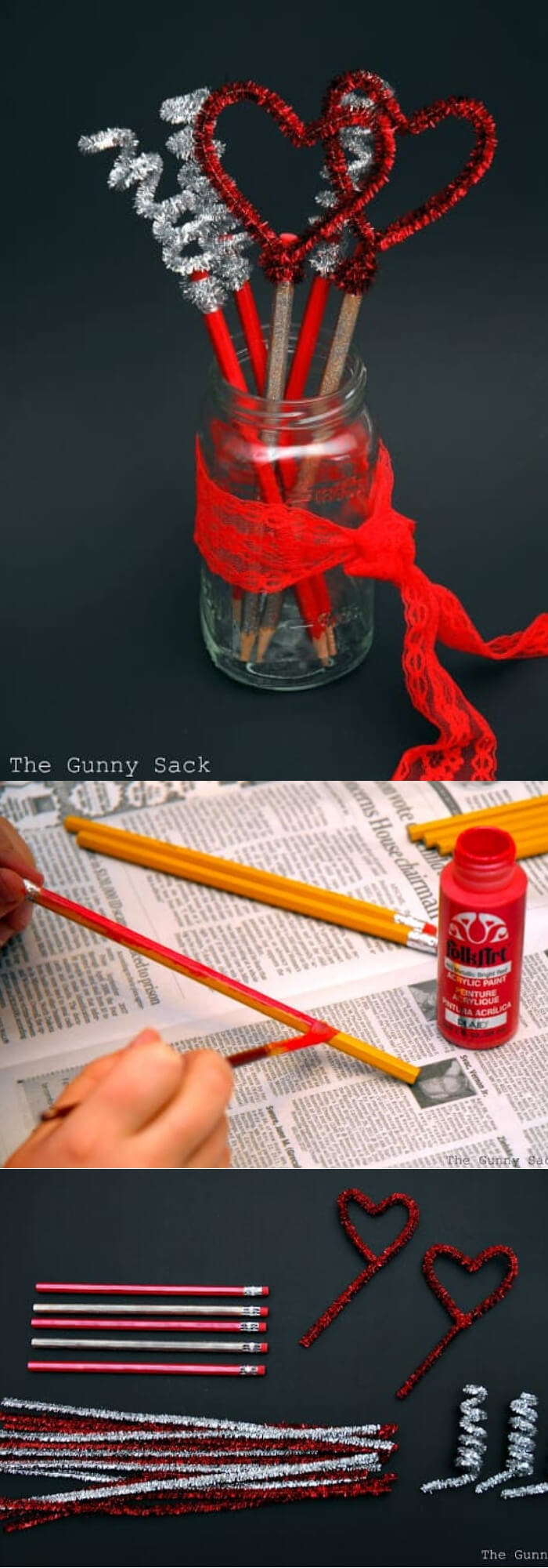 Pencil Toppers in a Mason Jar | Valentine's Day Decorating Ideas For Your Lovers | FarmFoodFamily.com