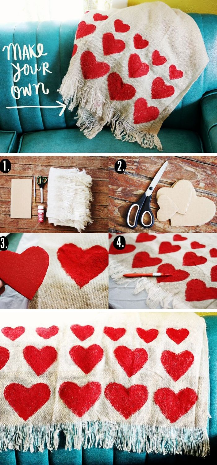 DIY Heart Blanket | Valentine's Day Decorating Ideas For Your Lovers | FarmFoodFamily.com