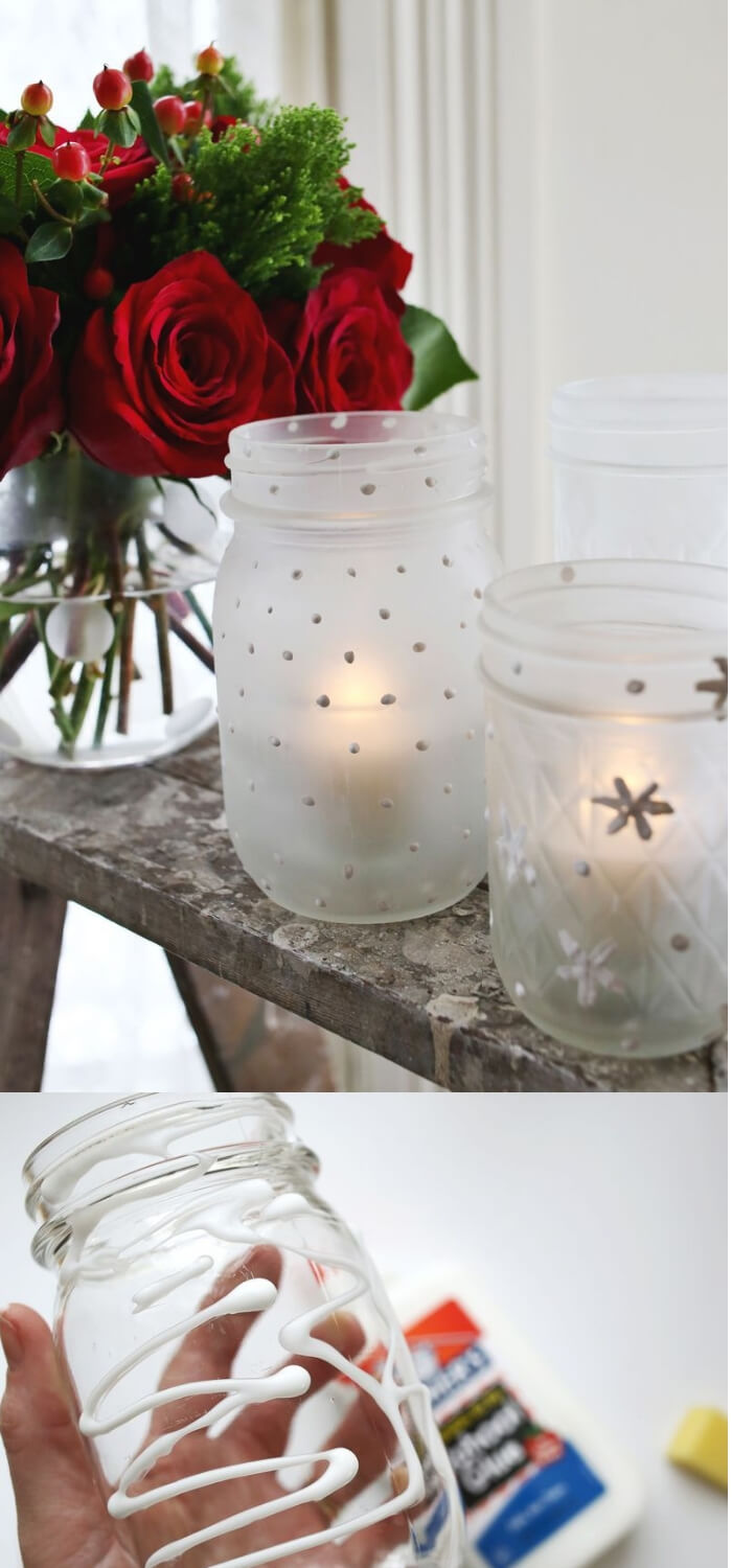 Frosted Mason Jar Votives | Christmas Spirit Jars Ideas | FarmFoodFamily.com