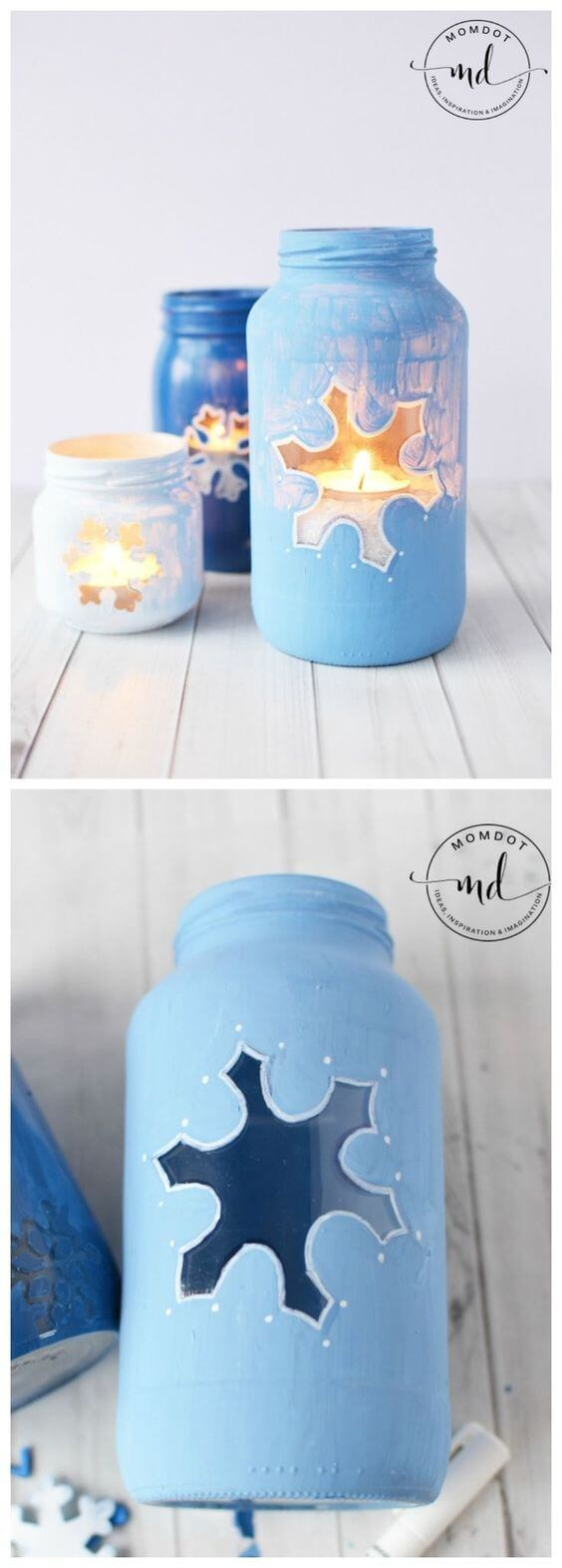 Snowflake Mason Jar DIY | Christmas Spirit Jars Ideas | FarmFoodFamily.com