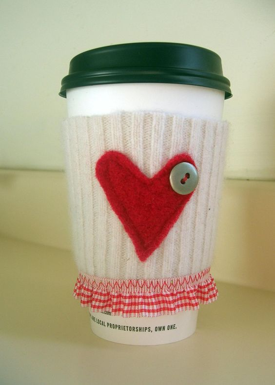 Red Heart and Gingham Coffee Cozy Sleeve | Environmentally-Friendly Valentine's Day Gifts