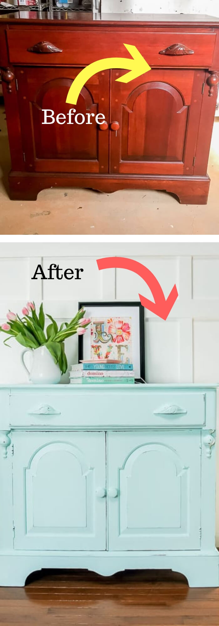 Spring Furniture Makeover: Aqua Credenza