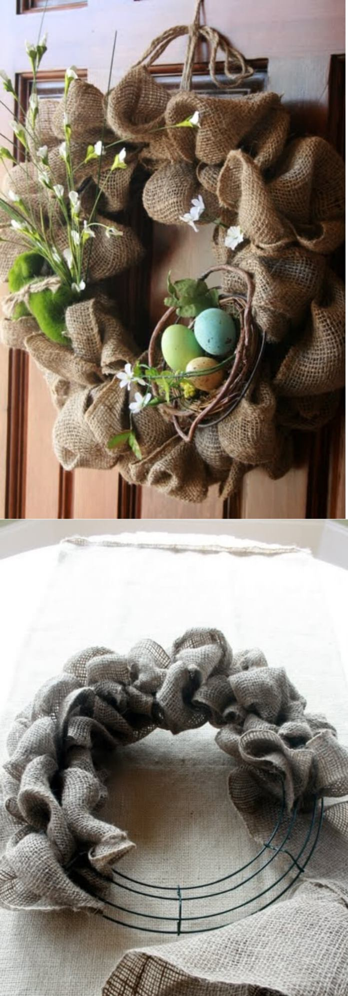 Easy and Simple DIY Spring Wreath Ideas | Easy burlap spring wreath