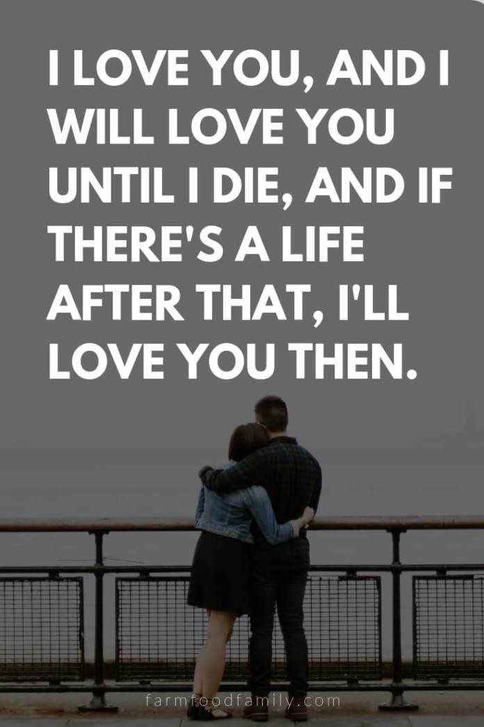 Cute, Funny, and Sweet Love Quotes For Him   I love you, and I will love you until I die, and if there's a life after that, I'll love you then.