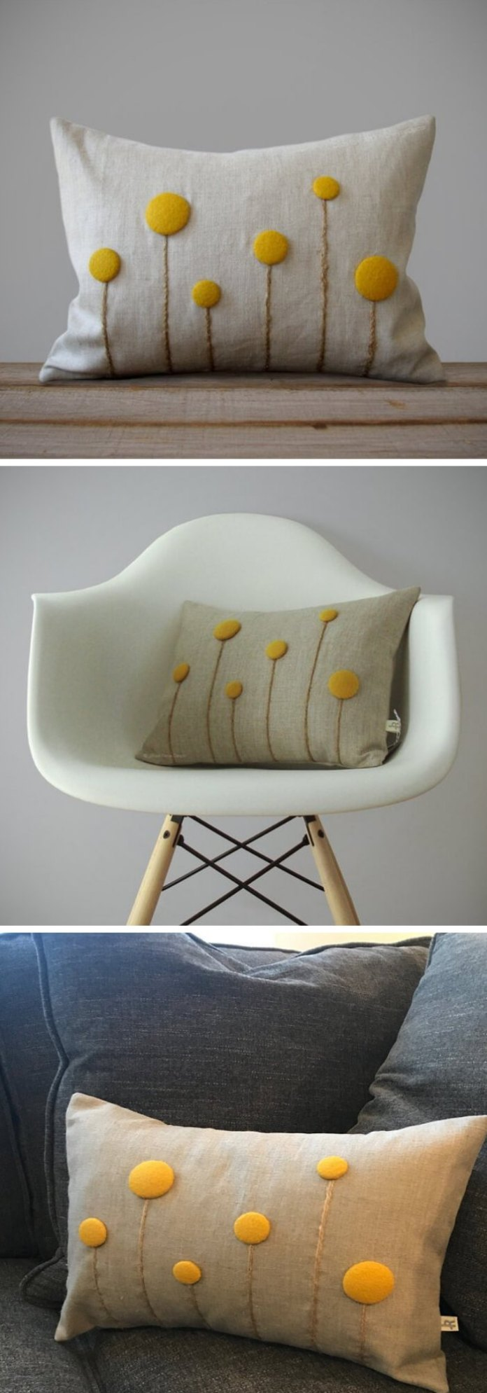 Home Decorating Ideas With Flowers: Yellow Billy Ball Flower Pillow in Natural Linen