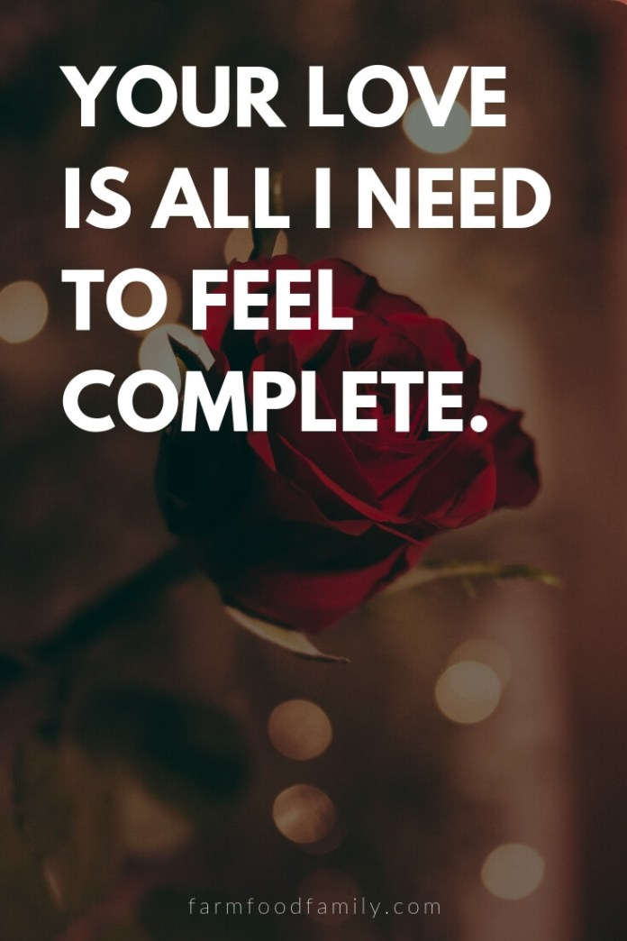 Cute, Funny, and Sweet Love Quotes For Him   Your love is all I need to feel complete.