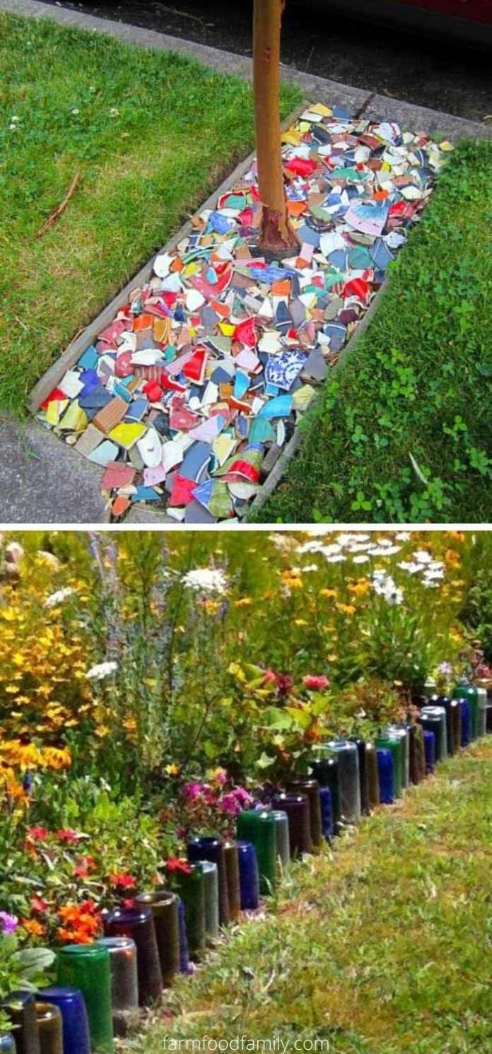 Recycled garden edging ideas
