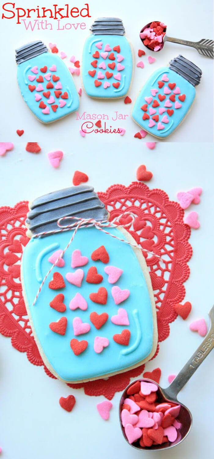 Mason Jar Cookies | DIY Mason Jar Gift Ideas For Valentine's Day | FarmFoodFamily.com