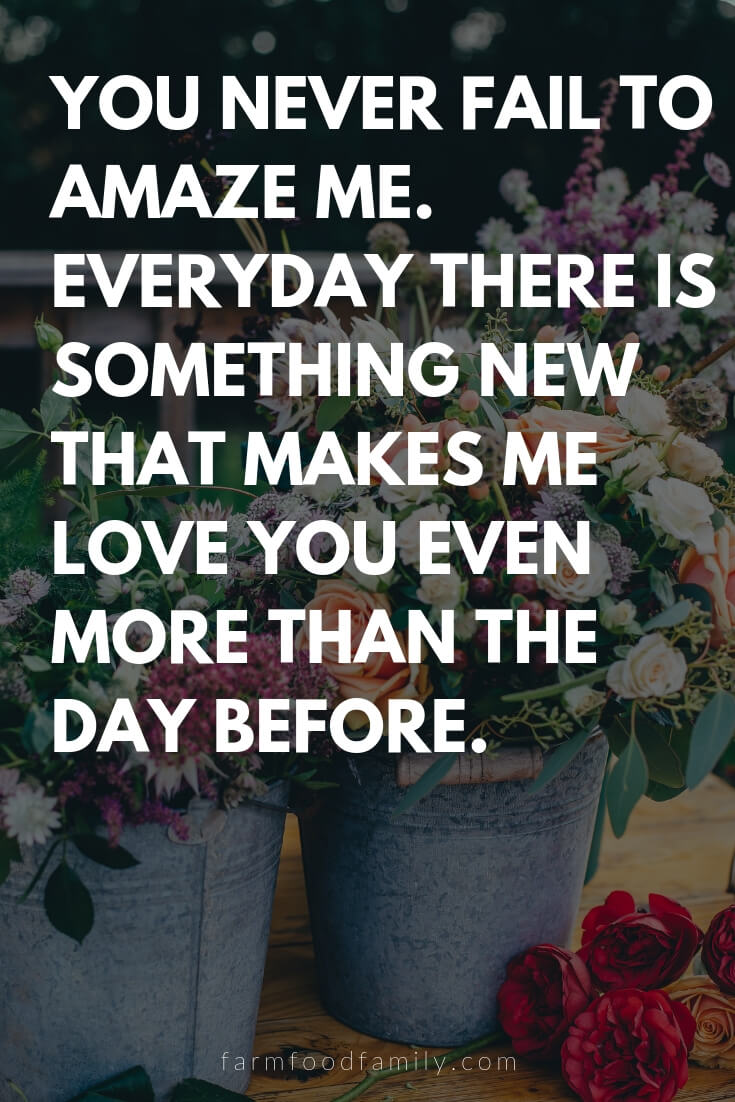 Cute, Funny, and Sweet Love Quotes For Him | You never fail to amaze me. Everyday there is something new that makes me love you even more than the day before.