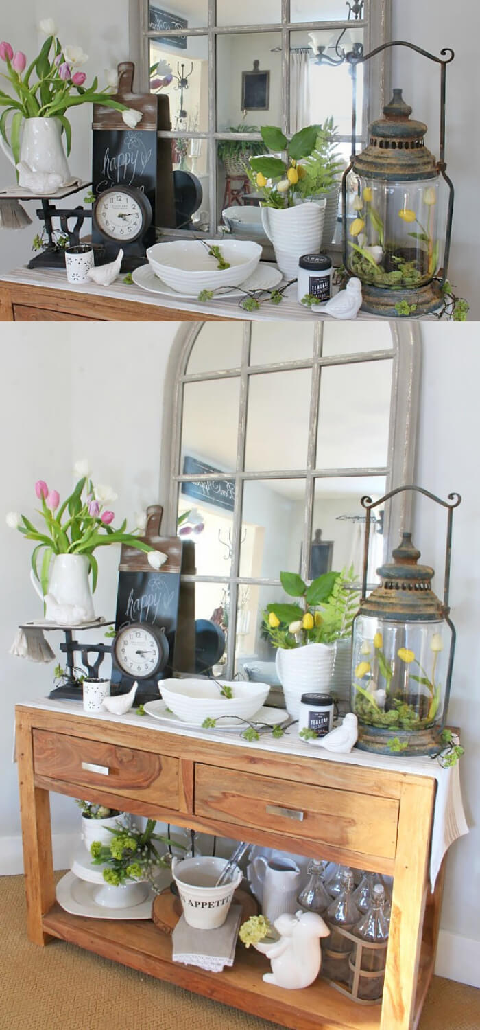 Quick Decorating Changes for Spring: Old lanterns + mason jar