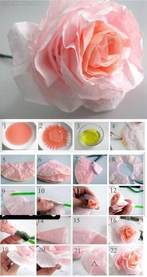 Dyed coffee filter flowers | Environmentally-Friendly Valentine's Day Gifts