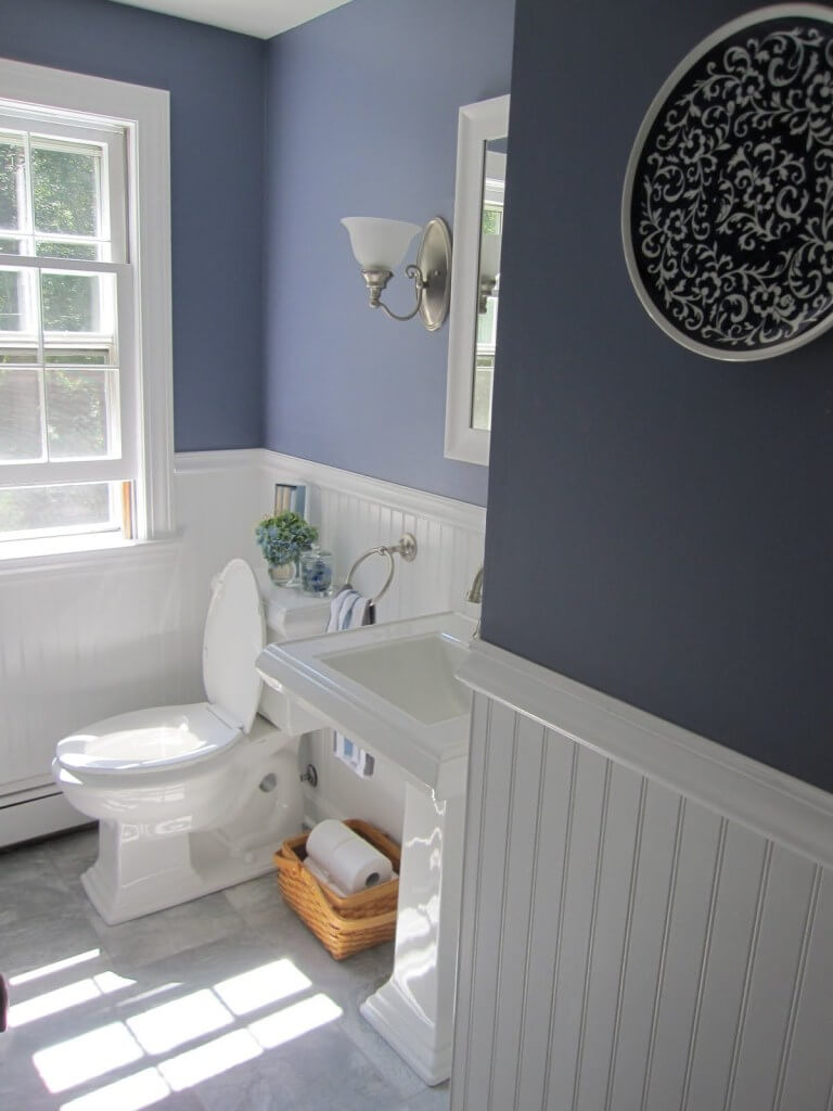 Beadboard wainscoting in a half bath remodel | Bathroom Wainscoting: Beadboard Panels in the Bathroom Design | FarmFoodFamily.com